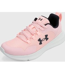 tenis lifestyle rosa-blanco-negro under armour ua essential