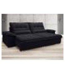 sofá bergamo 2,10m assento retrátil e reclinável velosuede preto - netsofas
