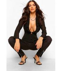 chiffon blouse met franjes en laag decolleté, black