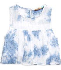 vintage havana girl's swiss dot tie-dye top - blue tie dye - size xl