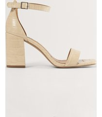 na-kd shoes sandal med blockklack - beige
