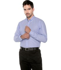 camisa azul medio preppy ml cfit rayas bd