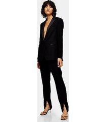 black skinny split cigarette pants - black