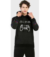 buzo hoodie para hombre negro gamer