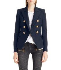 women's balmain double breasted wool blazer, size 4 us / 36 fr - blue