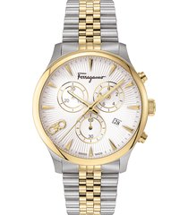 men's salvatore ferragamo duo chronograph two-tone bracelet watch; 42mm