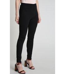 calça legging feminina com faixa lateral em suede preta