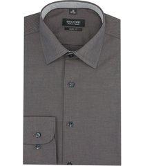koszula bexley 2510/1 długi rękaw slim fit brąz