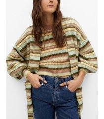 mango women's oversize striped cardigan