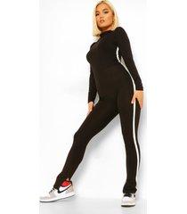 petite jumpsuit met hoge kraag en zijstreep, black