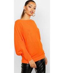 oversized rib knit batwing sweater, tangerine