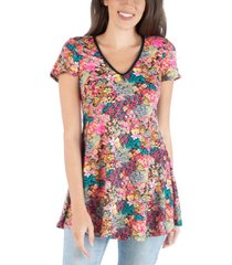 24seven comfort apparel flared tunic top with v-neck floral design