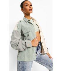 oversized corduroy colour block blouse, sage