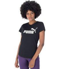 camiseta puma essentials logo - feminina - preto