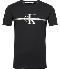 seasonal gold monogram tee t-shirts short-sleeved svart calvin klein jeans
