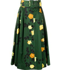 msgm rose-print belted a-line midi skirt - green