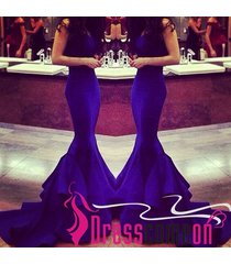 2015 royal blue mermaid sweetheart satin sweep train prom dress/formal dresses