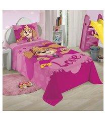 jogo de cama solteiro lepper patrulha canina 2 peças rosa