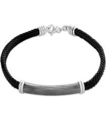 effy men's black leather cord id plate bracelet in sterling silver
