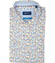 bos bright blue leo overhemd korte mouw rf 21107le49bo/500 multicolour