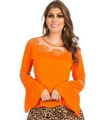 blusa miss lady viscose laranja com bordados