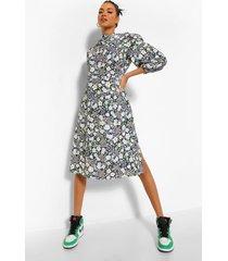 bloemenprint midi jurk met waterval hals, black