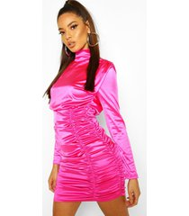 satin ruched belted mini dress, fuchsia