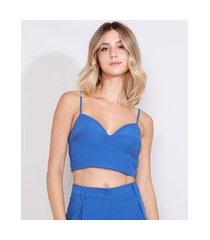 top cropped feminino alça fina decote v azul