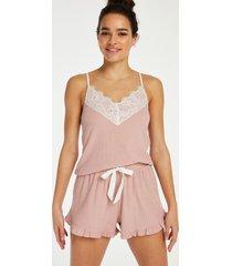 hunkemöller shorts med spets i borstat ribbtyg rosa