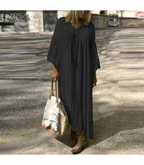 zanzea extra grande de las mujeres de la camisa ocasional maxi largo del vestido de cuello en v vestido de alas de murciélago de gran tamaño kaftan -negro