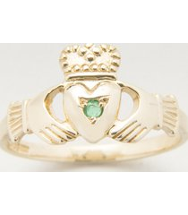 10k gold claddagh ring with emerald size 4