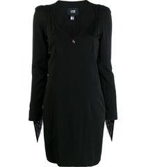 cavalli class fringe-trimmed mini dress - black