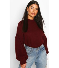 petite balloon sleeve cropped sweater, berry
