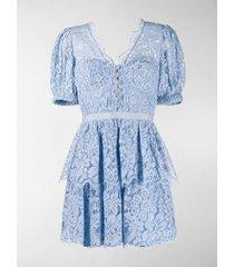 self-portrait lace-layered mini dress