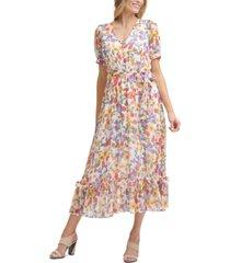 calvin klein puff-sleeve maxi dress