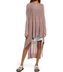 women's free people bianca long sleeve linen blend tunic dress, size medium/large - brown