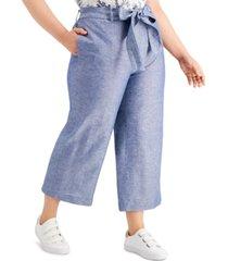bar iii plus size wide-leg tie-waist pants