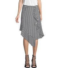 stripe-print draped skirt