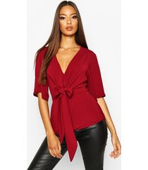knot front woven blouse, wine