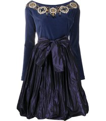 a.n.g.e.l.o. vintage cult 1990s bead-embroidered velvet dress - blue
