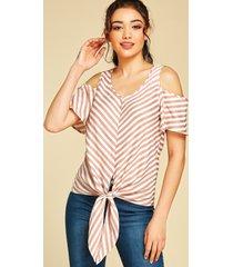 yoins rosa blusa con cuello en v y hombros descubiertos a rayas diseño blusa