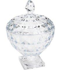 bomboniere de cristal rojemac com pã© e tampa diamant incolor - incolor - dafiti