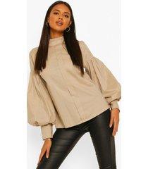 blouse met hoge kraag en volle mouwen, sand