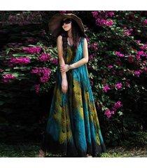 zanzea manera de las mujeres de bohemia de la vendimia de las señoras sin mangas de la impresión floral de verano beck larga floja vestido maxi -azul