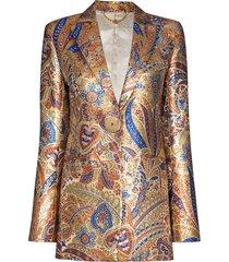 paco rabanne metallic paisley-print blazer jacket - gold
