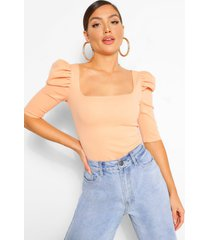 crepe puff sleeve square neck top, blush