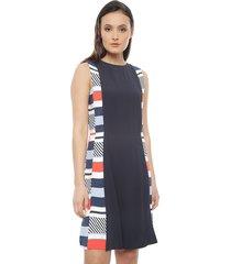 vestido tommy hilfiger multicolor - calce regular