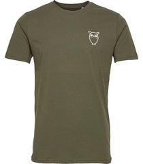 alder owl chest tee - gots/vegan t-shirts short-sleeved grön knowledge cotton apparel
