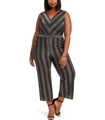 monteau trendy plus size glitter-stripe jumpsuit