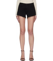 'audrey' raw slanted hem denim shorts